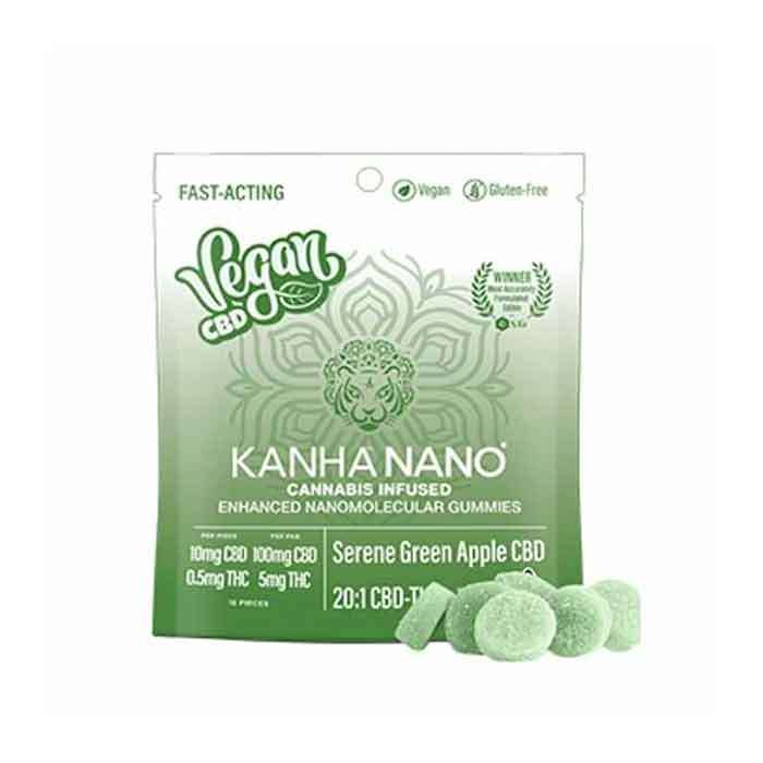 Kanha | 20:1 Serene Green Apple CBD Vegan Nano Gummies